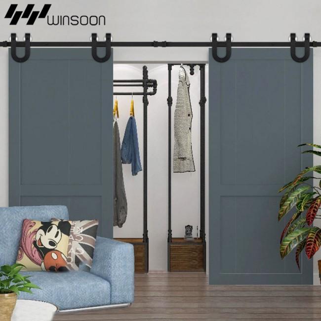 Winsoon 5 16ft Sliding Barn Door Hardware Aluminum Rollers Track Kit Cabinet Closet U Shape