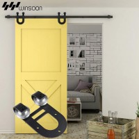 WinSoon 5-16FT Sliding Barn Door Hardware Aluminum Rollers Track Kit Cabinet Closet U-Shape