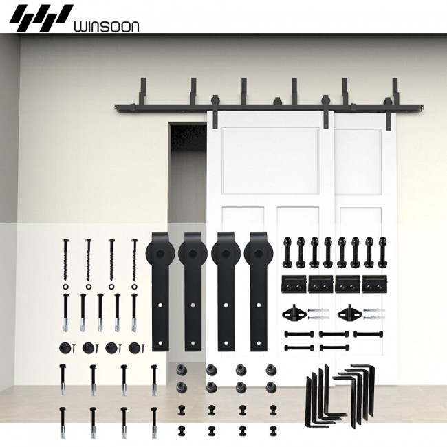 WinSoon 4-16FT Sliding Barn Door Hardware Bypass Double Track Kit Bent Basic Barn Door Bypass