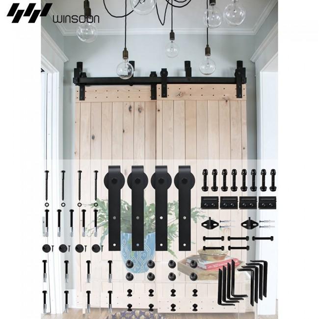 Winsoon 5 16ft Sliding Barn Door Hardware Bypass Double Track Kit