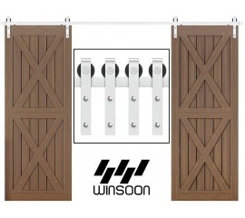 WinSoon 4-18FT Sliding Barn Door Hardware Double Doors Stainless Steel 304Track Kit