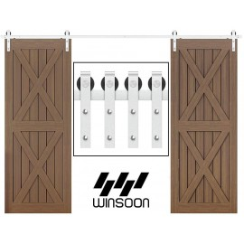 WinSoon 5-16FT Sliding Barn Door Hardware Double Doors Stainless Steel 304Track Kit