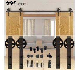 WinSoon 5-16FT Sliding Barn Door Hardware Double Doors Track Kit Black Wheel Style