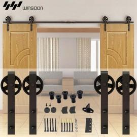 WinSoon 5-16FT Sliding Barn Door Hardware Double Doors Track Kit Black Wheel Style