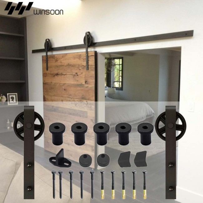 Superieur WinSoon 5 18FT Sliding Barn Door Hardware Double Doors Track Kit Black  Wheel Style