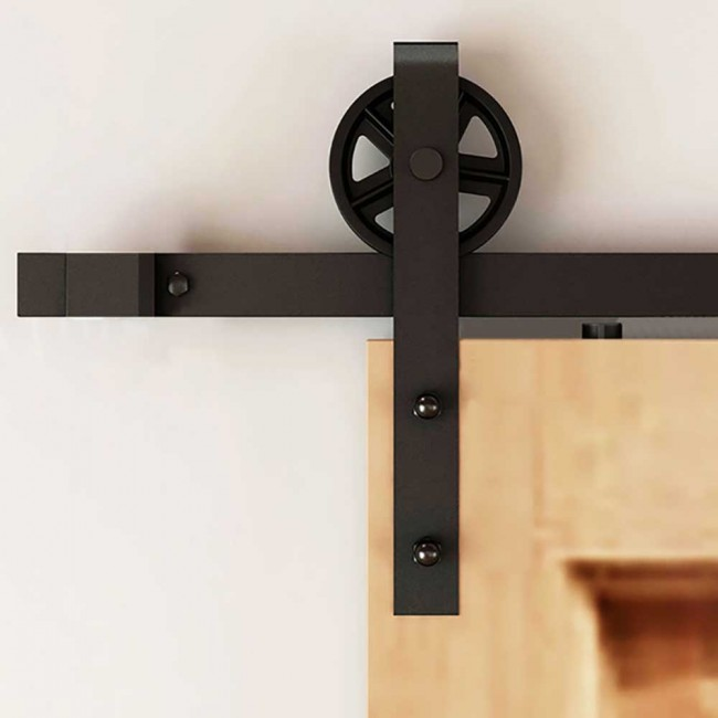 Gentil WinSoon 5 18FT Sliding Barn Door Hardware Double Doors Track Kit Black  Wheel Style