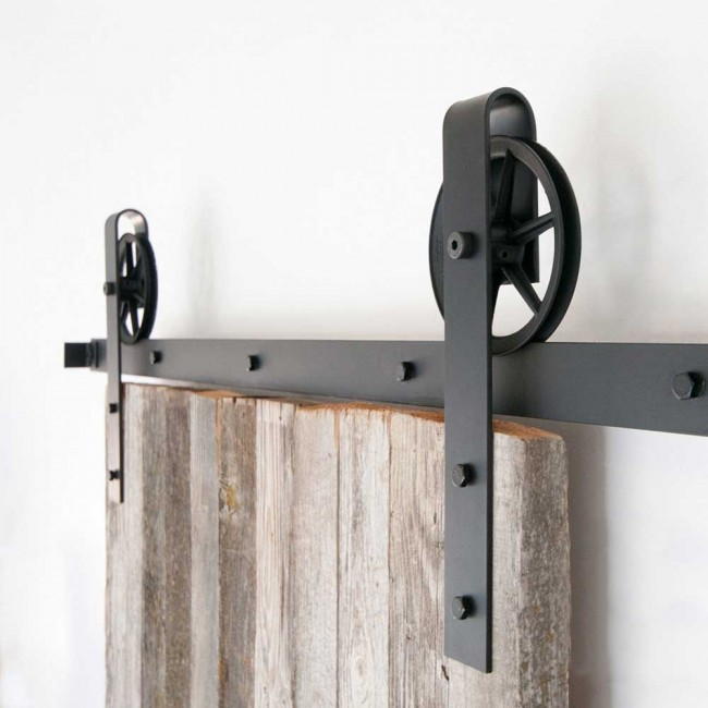 WinSoon 5 18FT Sliding Barn Door Hardware Double Doors Track Kit Black  Wheel Style