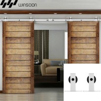 WinSoon 5-16FT Sliding Barn Door Hardware Double Doors Track Kit Modern White