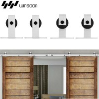 WinSoon 5-16FT Sliding Barn Door Hardware Double Doors Track Kit Modern White Barn Door Hardware