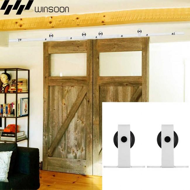 WinSoon 5 16FT Sliding Barn Door Hardware Double Doors Track Kit Modern  White