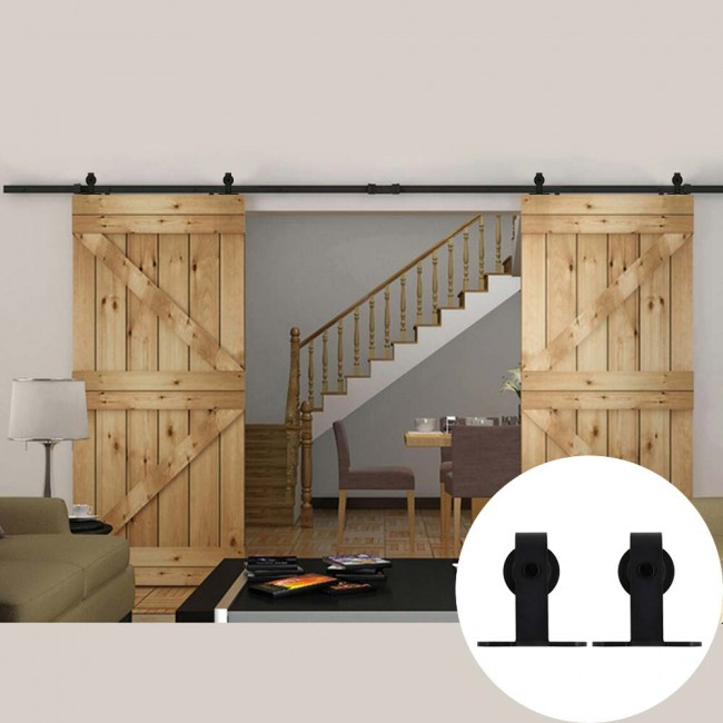 WinSoon 5 18FT Sliding Barn Door Hardware Double Doors Track Kit T Bent  Black
