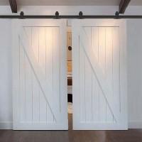 WinSoon 5-18FT Sliding Barn Door Hardware Double Doors Track Kit T-Bent Black