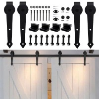 WinSoon 4-18FT Sliding Barn Door Hardware Double/Single Door Track Kit Arrow
