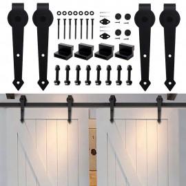 WinSoon 5-16FT Sliding Barn Door Hardware Double/Single Door Track Kit Arrow