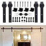 WinSoon 5-16FT Sliding Barn Door Hardware Double/Single Track Kit Bent Straight