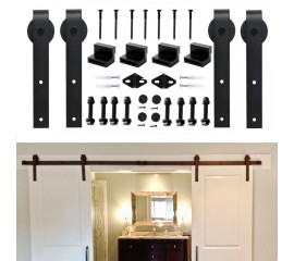 WinSoon 4-18FT Sliding Barn Door Hardware Double/Single Track Kit Bent Straight