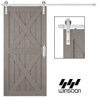 WinSoon 5-16FT Sliding Barn Door Hardware Single Door Stainless Steel 304 Track Kit