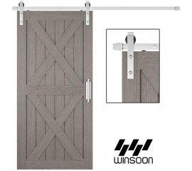 WinSoon 4-16FT Sliding Barn Door Hardware Single Door Stainless Steel 304  Flat Track Kit J Shape Roller