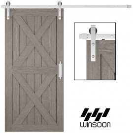 WinSoon 4-18FT Sliding Barn Door Hardware Single Door Stainless Steel 304 Track Kit