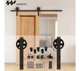 WinSoon 5-16FT Sliding Barn Door Hardware Single Door Track Kit Black Wheel Style