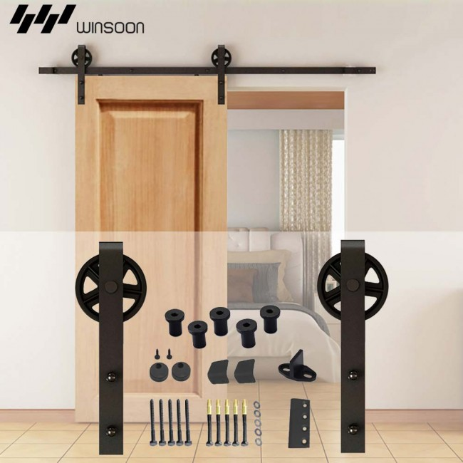 WinSoon 4-18FT Sliding Barn Door Hardware Single Door Track Kit Black Wheel Style