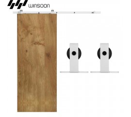 WinSoon 5-16FT Sliding Barn Door Hardware Single Door Track Kit Modern White