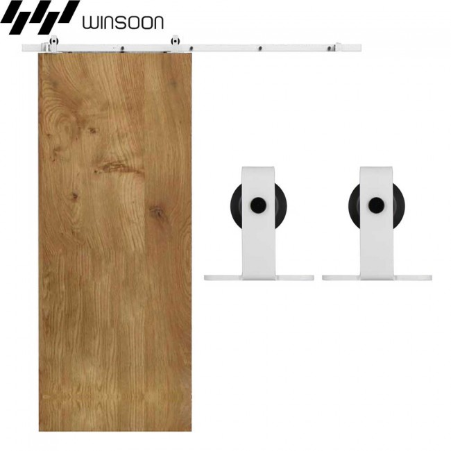 WinSoon 5 16FT Sliding Barn Door Hardware Single Track Kit Modern White
