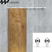 WinSoon 5-16FT Sliding Barn Door Hardware Single Door Track Kit Modern White Barn Door Hardware