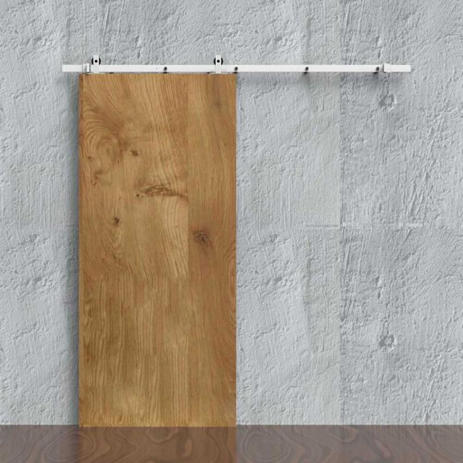WinSoon 5 16FT Sliding Barn Door Hardware Single Door Track Kit Modern  White Barn Door