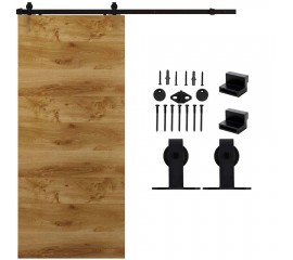 WinSoon 5-16FT Sliding Barn Door Hardware Single Door Track Kit T-Bent Black
