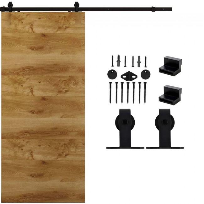 WinSoon 4-18FT Sliding Barn Door Hardware Single Door Track Kit T-Bent Black Barn Door Hardware