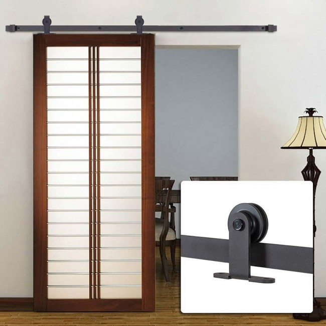 Winsoon 5 16ft sliding barn door hardware single door for Single sliding barn door