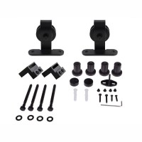 WinSoon 4-16FT Sliding Barn Door Hardware Single Door Track Kit T-Bent Black Barn Door Hardware