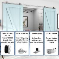 WinSoon 4-18FT Sliding Barn Door Hardware Stainless Track Kit For Double Doors