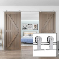 Sliding Barn Door Hardware Stainless Steel 304 Track Kit For Double Door SILVER Top Mount