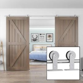 Sliding Barn Door Hardware Kit For Double Door Top Mount