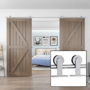 Sliding Barn Door Hardware Kit For Double Door Top Mount