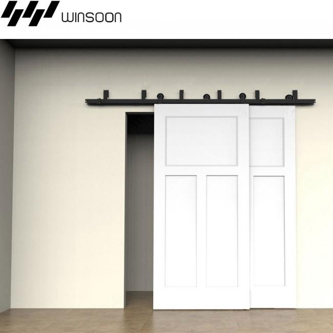 Winsoon 5 16ft sliding bypass barn door hardware double for 12 foot barn door track