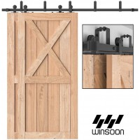 WinSoon 4-16FT Bypass Sliding Barn Door Hardware Flat Track Kit For Double Doors  Top Mount T Shape Roller Black Steel