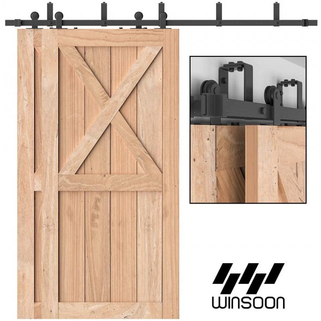WinSoon 4-16FT Bypass Sliding Barn Door Hardware Flat Track Kit For Double Doors  Top Mount T Shape Roller