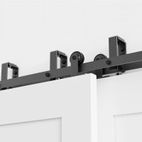 WinSoon 5-16FT Sliding Bypass Barn Door Hardware Double Doors Track Kit New Barn Door Bypass