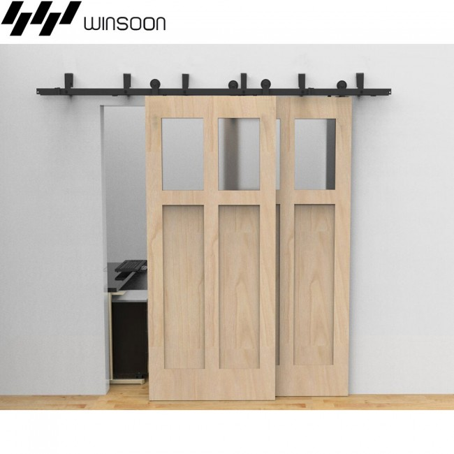 WinSoon 5 16FT Sliding Bypass Barn Door Hardware Double Doors Track Kit New  Barn Door