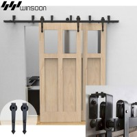 WinSoon 5-16FT Sliding Bypass Barn Door Hardware Double Track Kit Arrow New