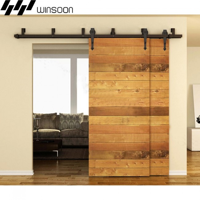 Winsoon 5 16ft sliding bypass barn door hardware double for Dual track barn door hardware