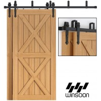 Bypass  Bi-part Sliding Barn Door Hardware Double Track Kit Arrow