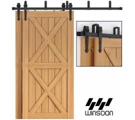 WinSoon 4-16FT Sliding Bypass Barn Door Hardware Double Track Kit Arrow New