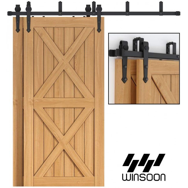 WinSoon 4-16FT Sliding Bypass Barn Door Hardware Double Track Kit Arrow New Barn Door Bypass