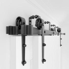 Bypass  Bi-part Sliding Barn Door Hardware Double Track Kit Arrow