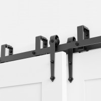 WinSoon 5-16FT Sliding Bypass Barn Door Hardware Double Track Kit Arrow New Barn Door Bypass