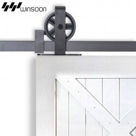 WinSoon 4-18FT Sliding Barn Door Hardware Kit Big Spoke Wheels T-Shape